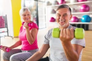 people smiling whilst exercising